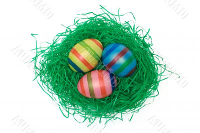 Easter Eggs on Grass - Top View
