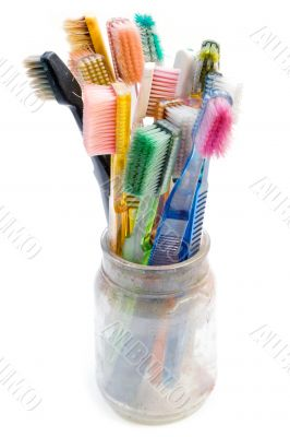 Colorful Used Toothbrushes