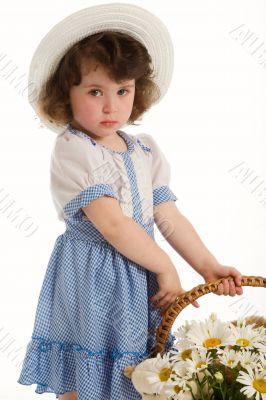 A little beautiful girl with bonnet.