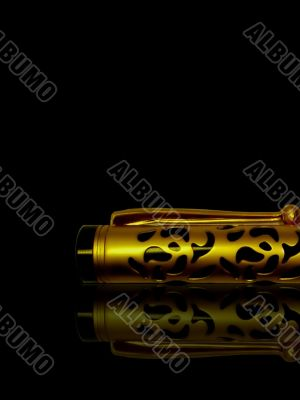 classic golden pen on glass table