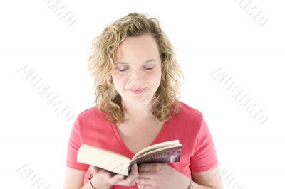 Attractive blonde reading a book