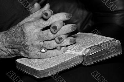 Senior`s hands in prayer