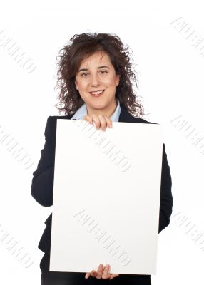 Holding the blank poster