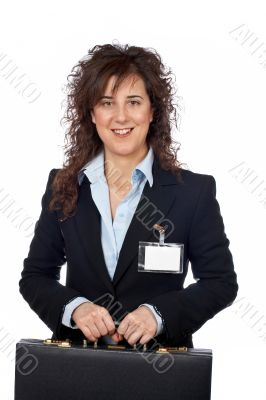 Business woman holding a black briefcase