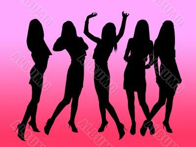 Girls` black silhouettes in night club