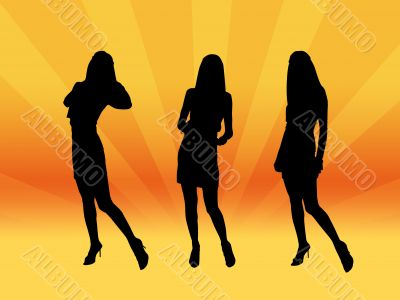 Girls silhouettes,vector,image, picture,night club