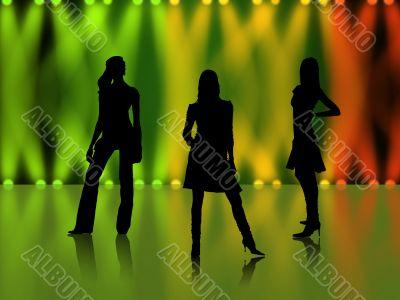 Sexy girls silhouettes in night club