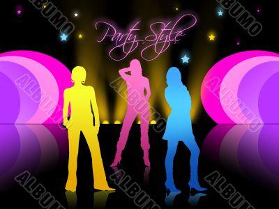 Three girls in night club