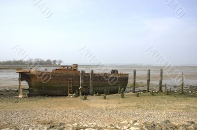 Abandoned river barge