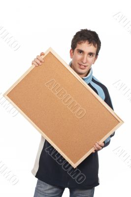 Teenager holding the corkboard