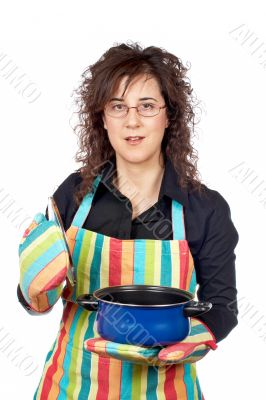 Housewife opening a blue pan