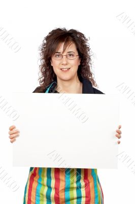 Housewife in apron holding the blank banner