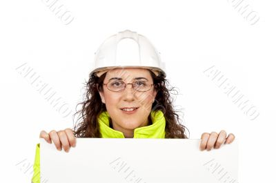 Curious female construction worker