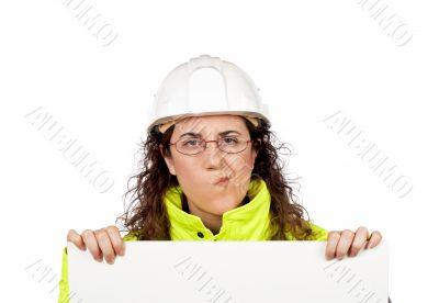 Female construction worker with worried gesture