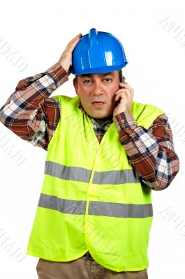 Construction worker with surprised expression