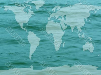 global map flooded earth