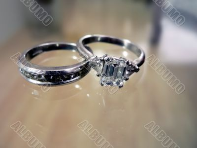wedding ring & band - diamond & platinum 2