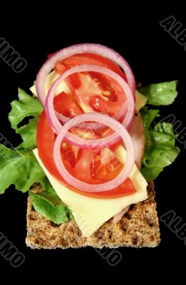 Rye Cracker With Ham And Salad