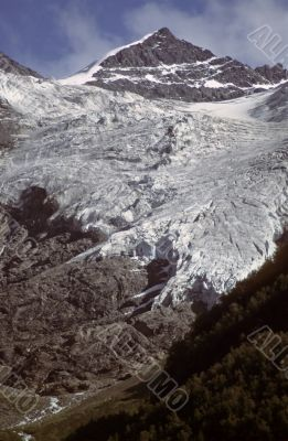 Mountain peak and valley glacier