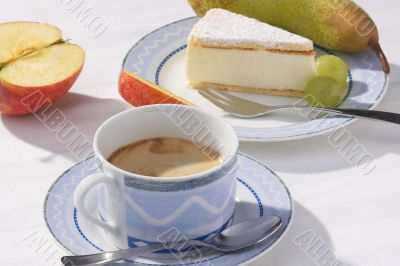 fruits, cake and coffee