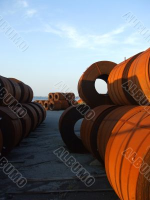 Steel Coils in a Shipping Yard