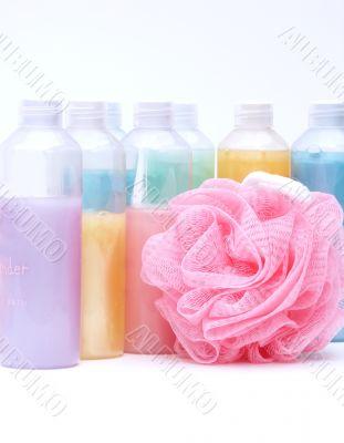 bath supplies in pastel colors