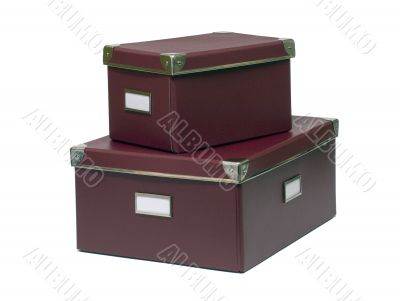 Red storage boxes