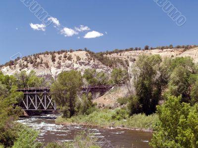 Metal Railroad Train Bridge over River