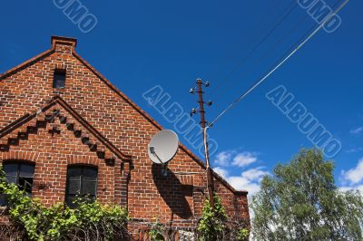 barn with satellite dish
