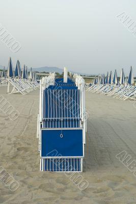 Viareggio`s sandy beach, Tuscany