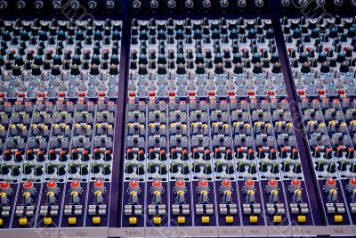 Professional mixing console for audio recording. Music studio.