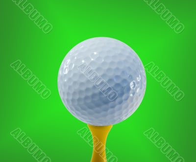 Golf ball ready for hitting