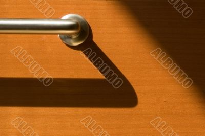 Detail of steel handle with shadow