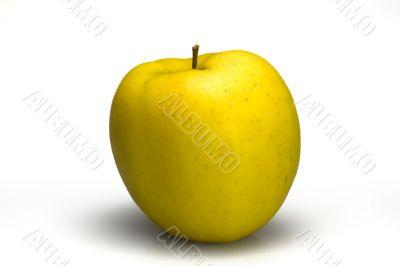 Full isolated mature yellow apple