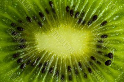Ripe kiwi macro with seeds