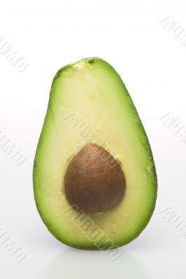 Isolated open avocado with stone