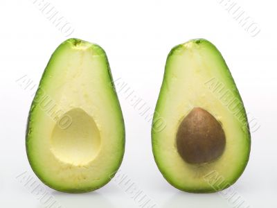 Open avocado two parts with stone