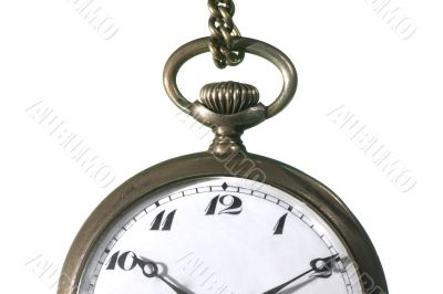 Old pocket watch on white detail