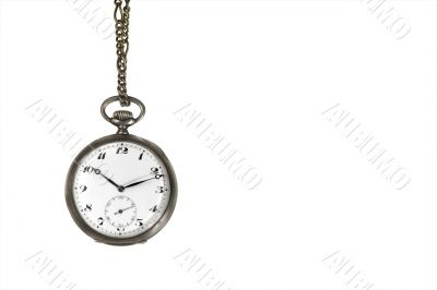 Old pocket watch hanging on white with text space