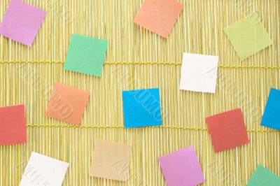 Colorful notes on mat background