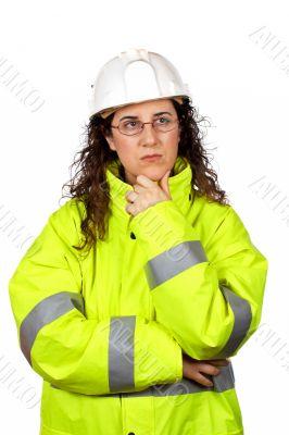 Worried female construction worker