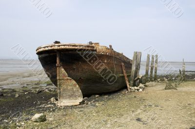 Abandoned river barge