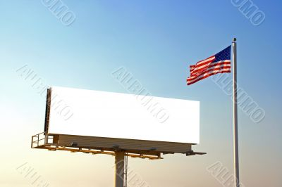 Billboard and American Flag