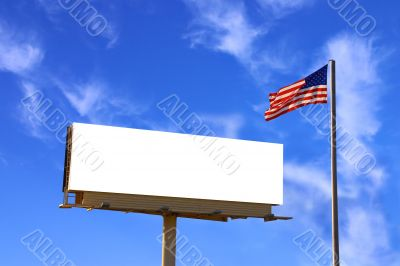 Billboard and American Flag with clouds