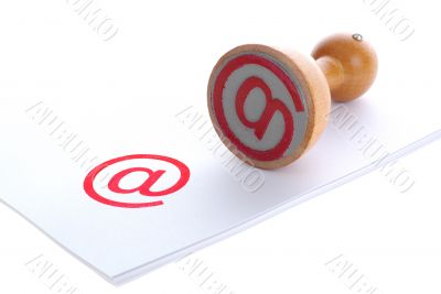 mail symbol in rubber stamp