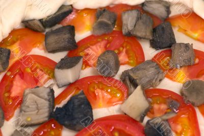 Close-up of raw pizza
