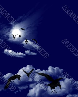 Ravens Flock in a Moonlit Skyscape