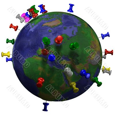 Tacks In Earth Map Eastern Hemisphere