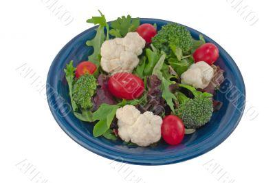 cauliflower tomato salad on white