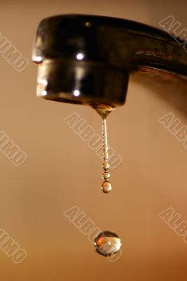 Water droplet from tap